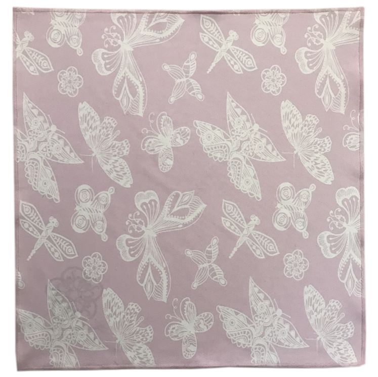 Pink Garden Butterfly Microfiber Pocket Square