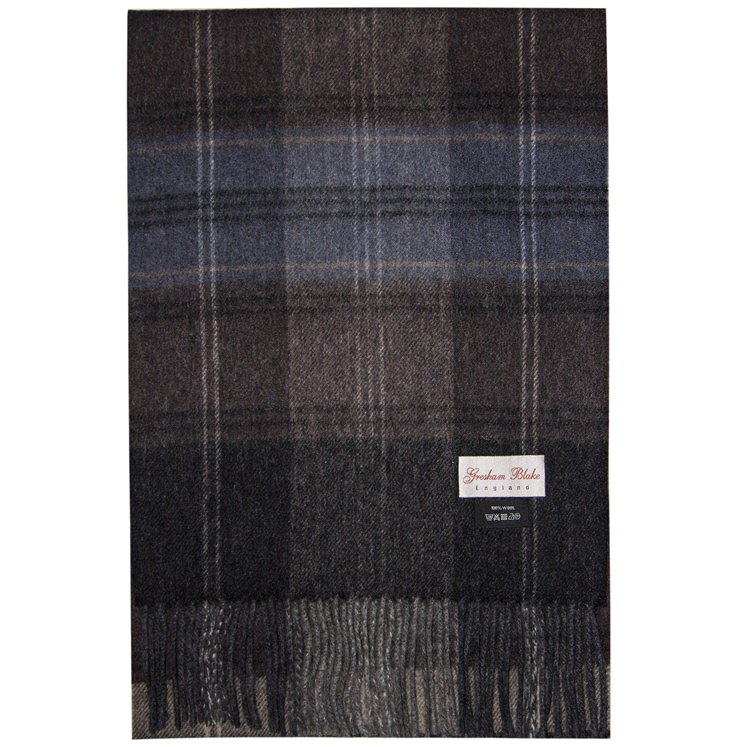 Brown & Blue Checked Wool Scarf
