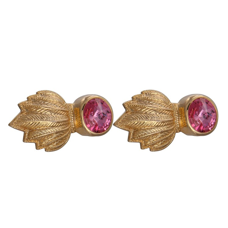 Gold & Pink Feather Gem Cufflinks