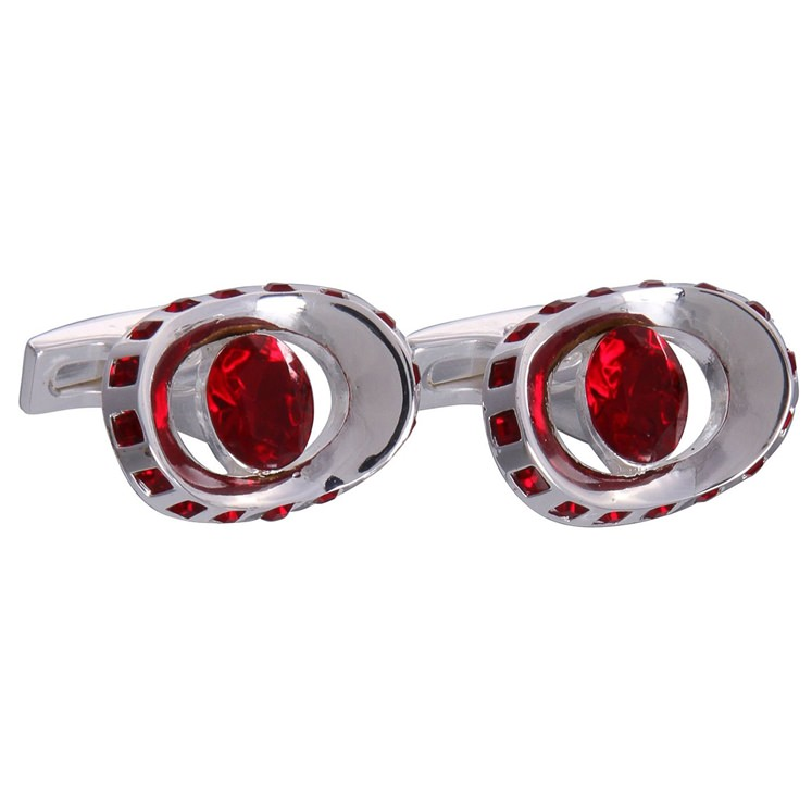 Silver & Red Gemstone Eye Cufflinks