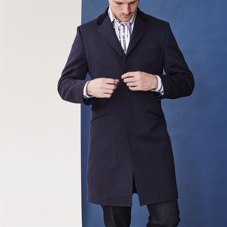 Navy Wool Whipcord Covert Coat