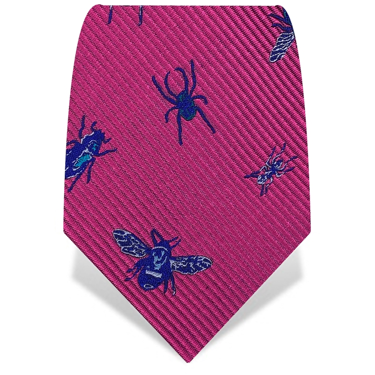 Pink & Blue X-Ray Insects Silk Tie