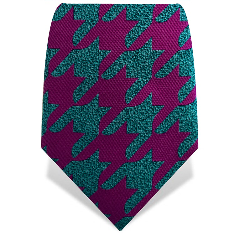 Purple & Turquoise Houndstooth Tie