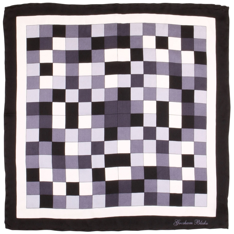 Black Check Silk Pocket Square