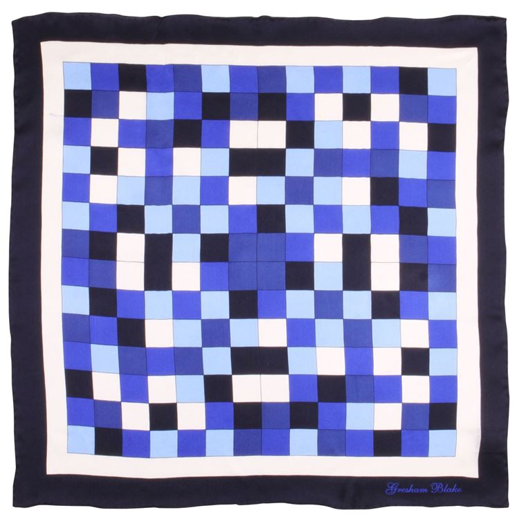 Blue Check Silk Pocket Square