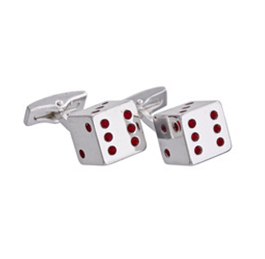 Silver Dice Cufflinks, Red