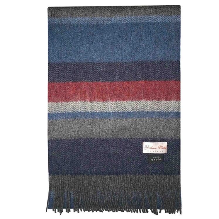 Navy & Rust Striped Scarf