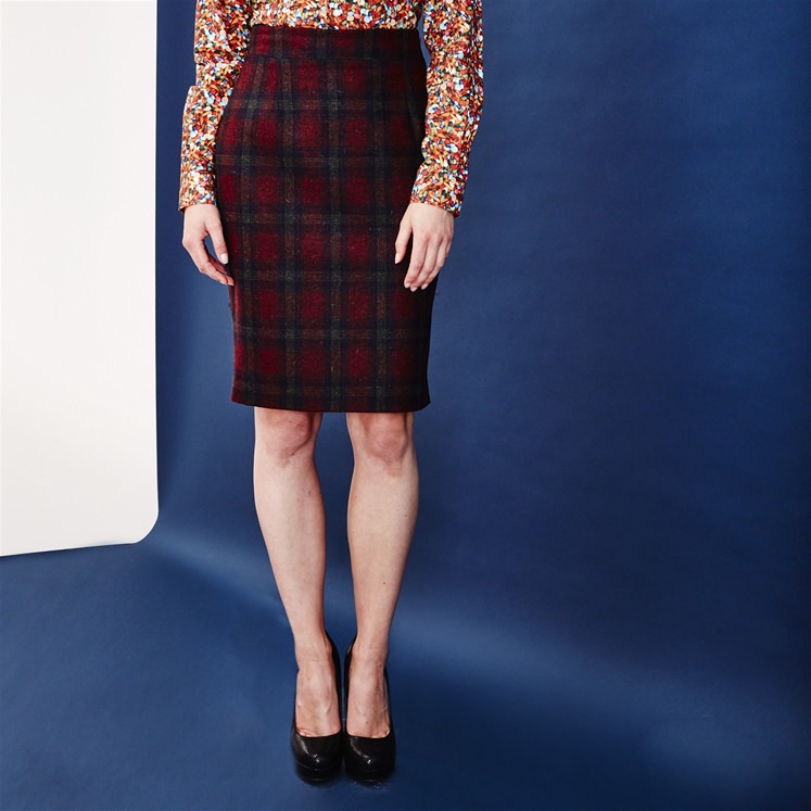 Womens Maroon Check Skirt