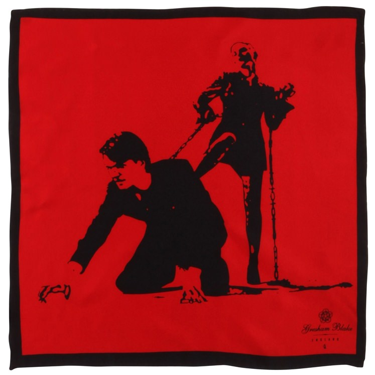 Red Love Honor and Obey Pocket Square