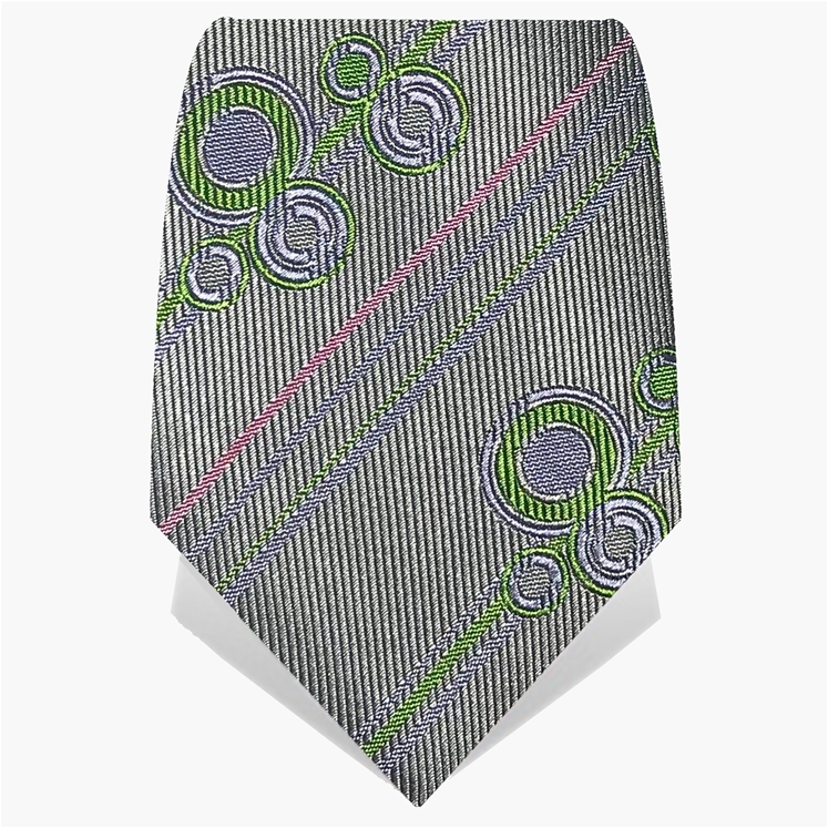Silver Stripes & Circles Tie
