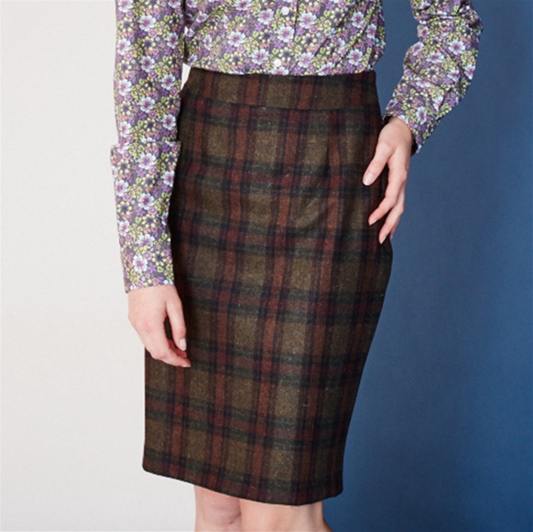 Womens Green Check Wool Skirt