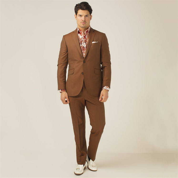 Copper Herringbone 2 Piece Suit
