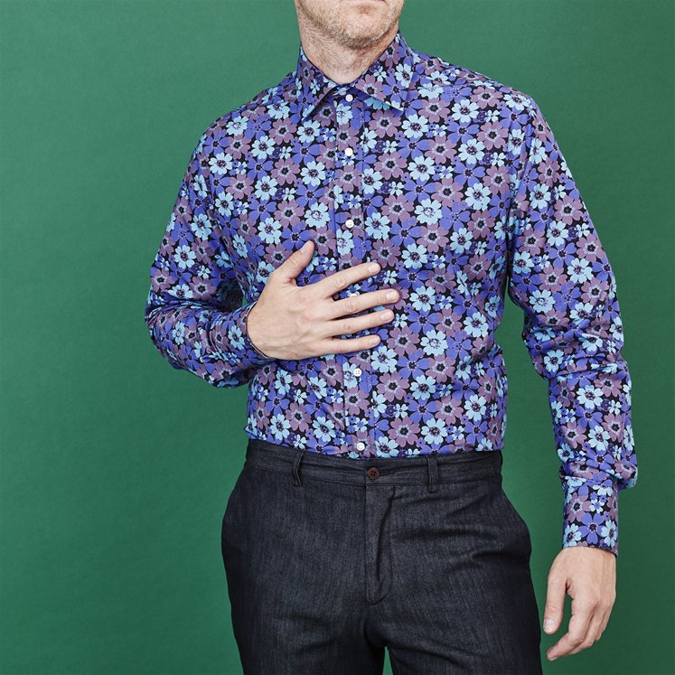 Blue & Purple Flower Shirt