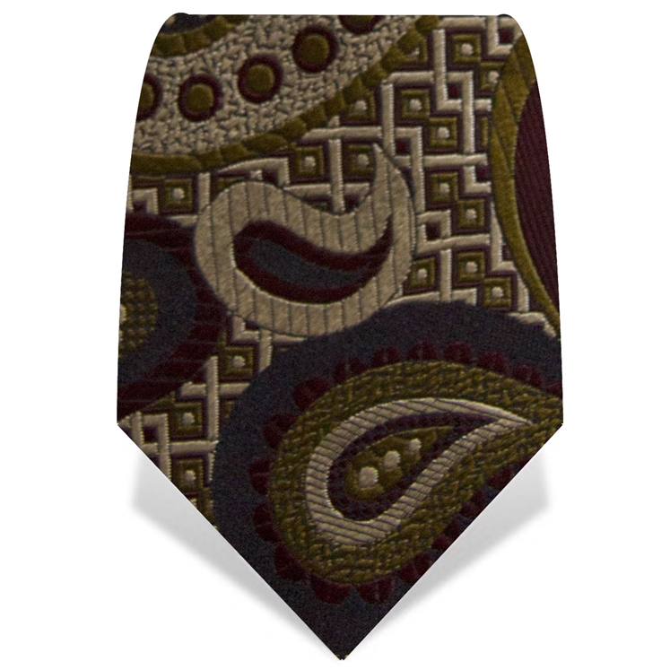 Olive and Maroon Oversize Paisley Tie