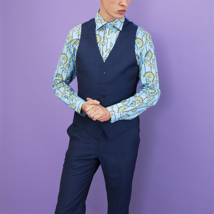 Blue Mohair and Wool Waistcoat