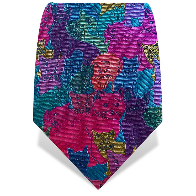 Turquoise & Pink Cats Tie