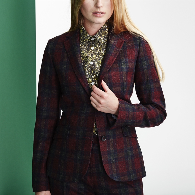 Womens Maroon Check Wool Jacket