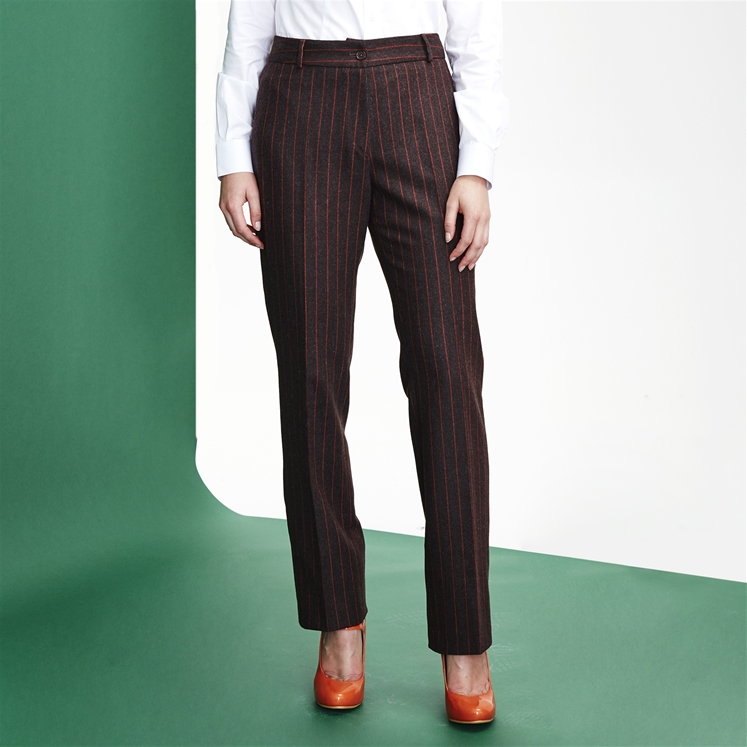 Ladies Red Chalkstripe Trousers