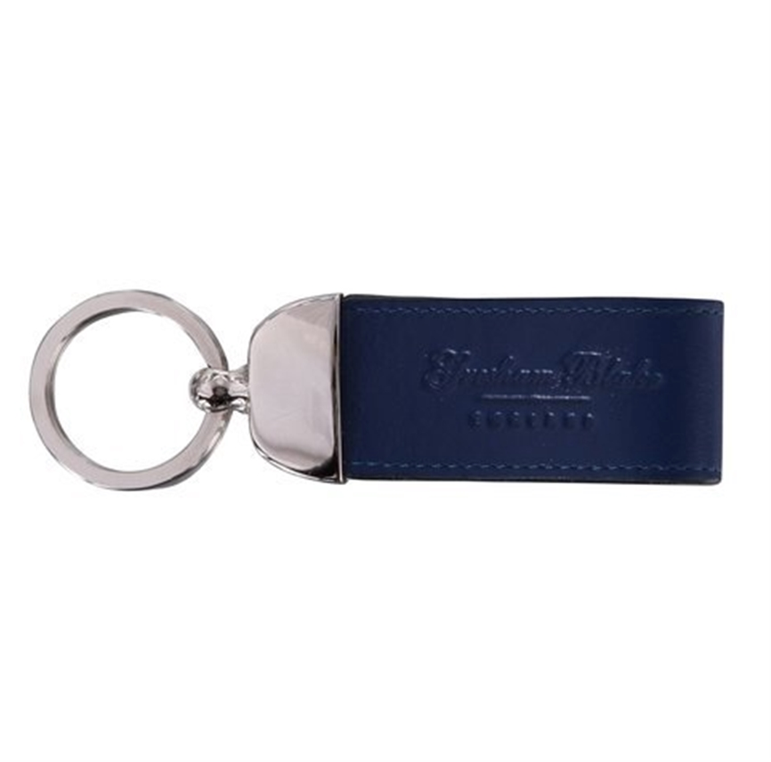Navy Leather Keyring