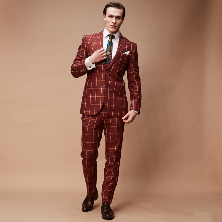 Deep Red Window Pane Linen 2 Piece Suit
