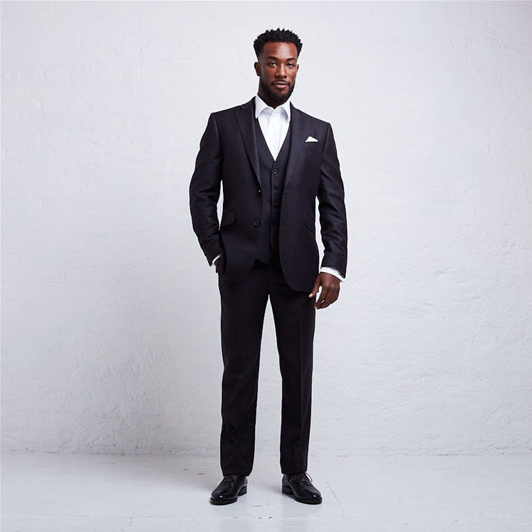Grey 2 Piece Flannel Suit