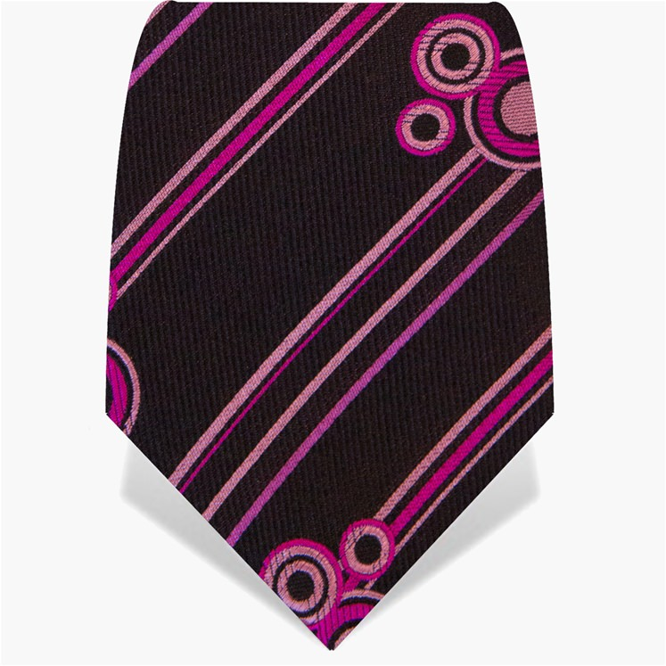 Black & Pink Stripes & Circles Tie