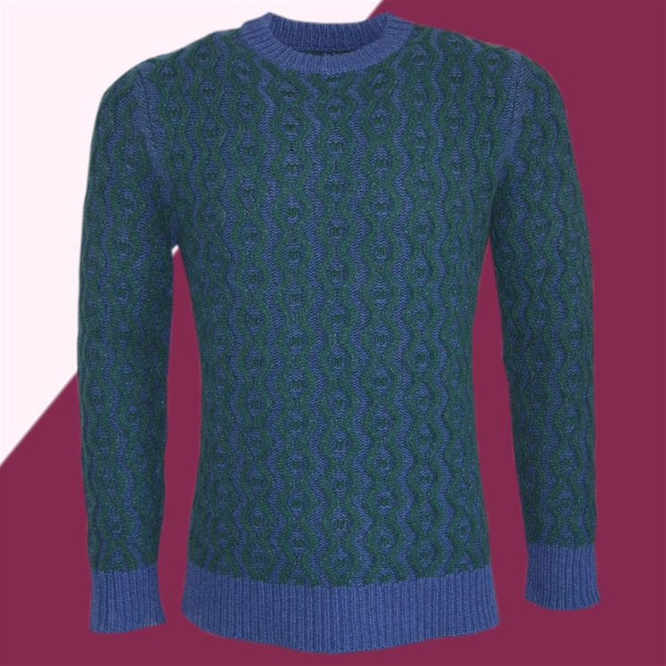 ae87c436451d2f Blue & Green Cable Knit Jumper | Gresham Blake
