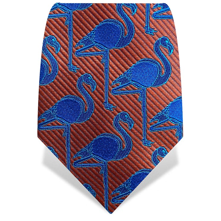 Orange & Blue Flamingo Tie