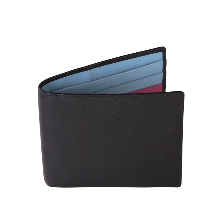 Black and Pale Blue Leather Wallet