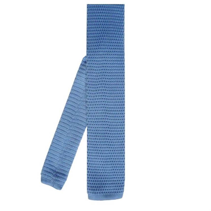 Pale Blue Skinny Knit Tie Pale