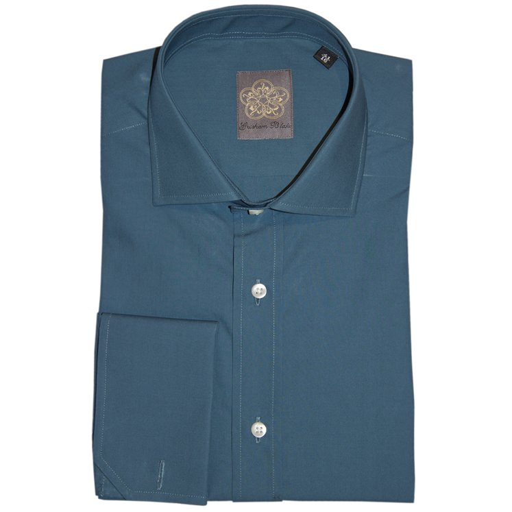 Petrol Plain Cotton Double Cuff Shirt