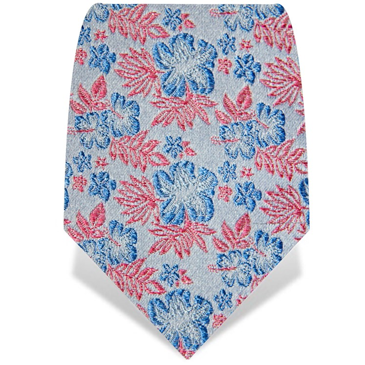 Silver and Blue Small Flower Tie
