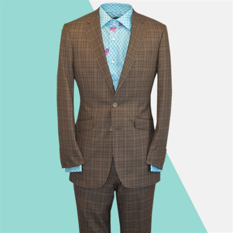 Slim Fit Brown Prince Of Wales Suit