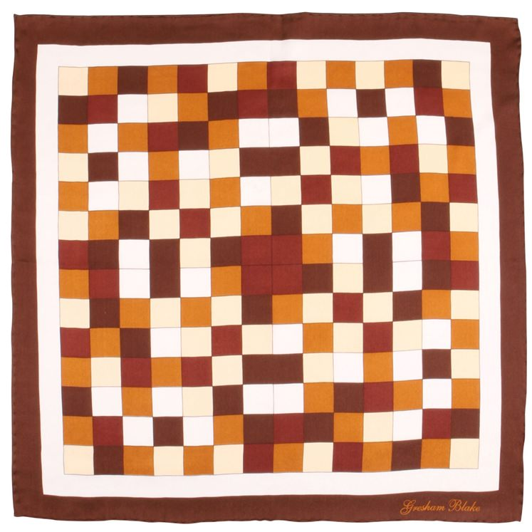 Brown Check Silk Pocket Square