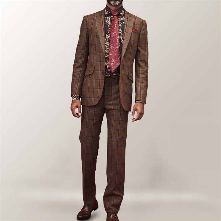 Green Check Tombstone 2 Piece Suit