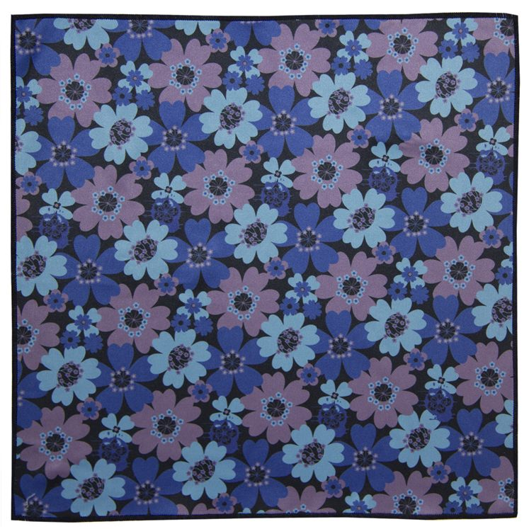 Blue & Purple Flower Microfiber Pocket Square