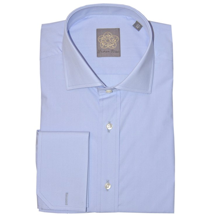 Powder Blue Plain Cotton Double Cuff Shirt