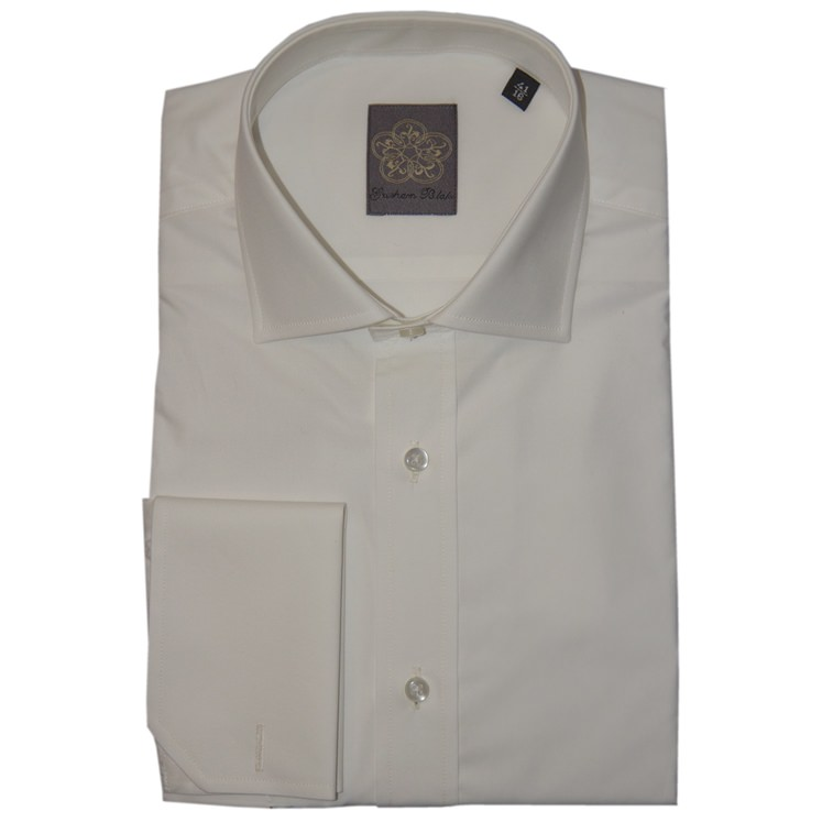 Ivory Plain Cotton Double Cuff Shirt