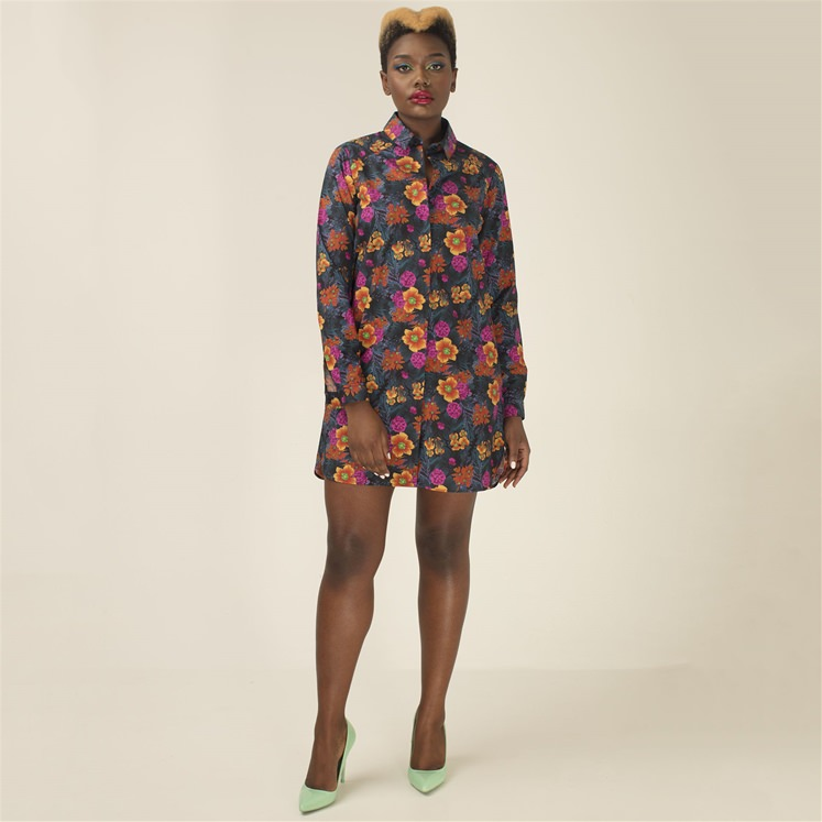 Womens 'Leilas' Florals At Night Shirt Dress