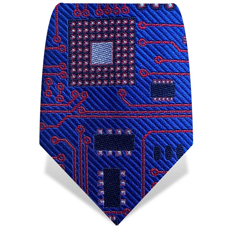 Blue & Red Circuit Board Tie