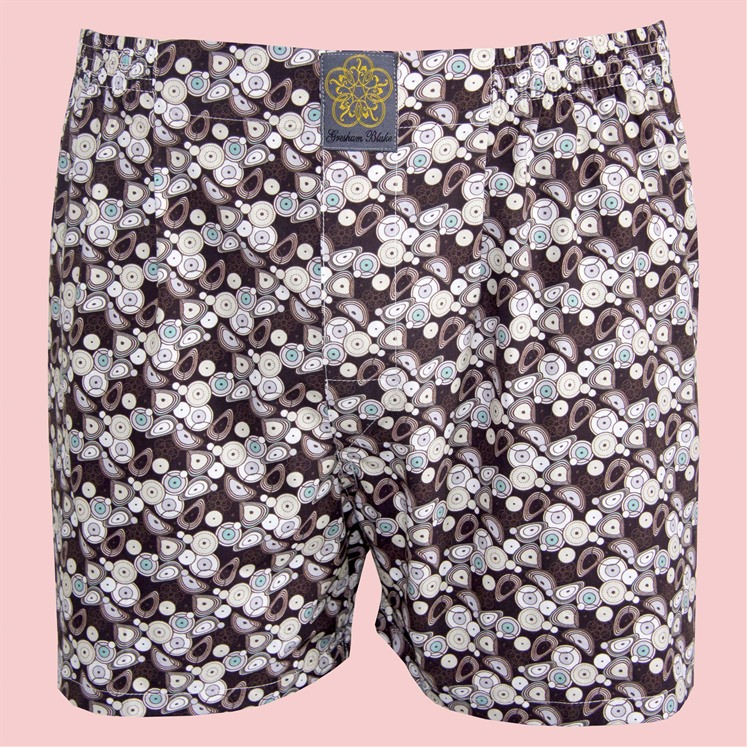 Brown Warped Circle Boxer Shorts