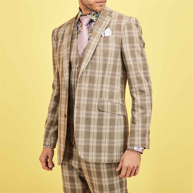 'Miami' Tan Check Suit