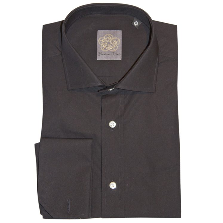 Black Plain Cotton Double Cuff Shirt