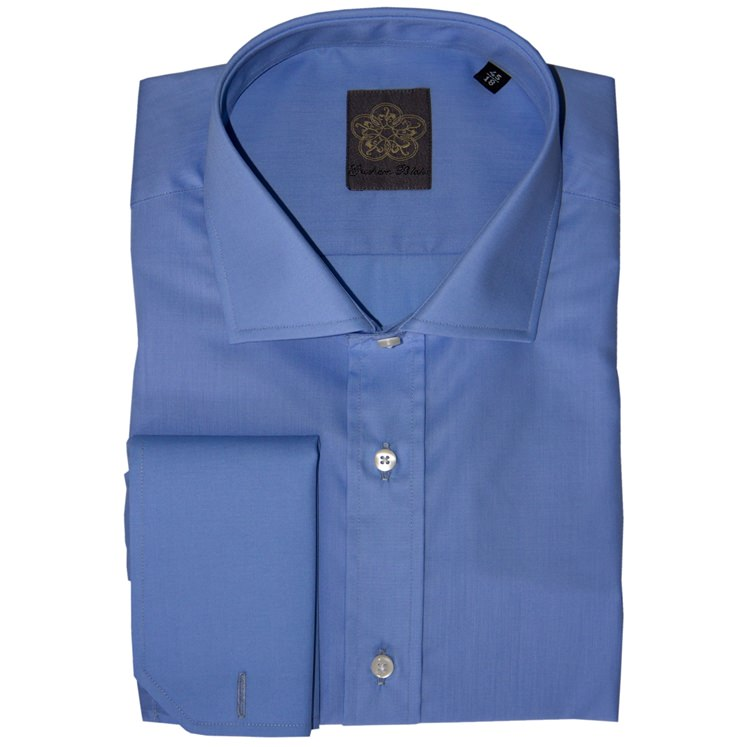 Mid Blue Plain Cotton Double Cuff Shirt
