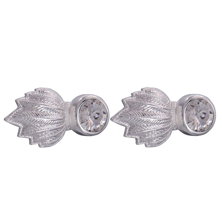 Silver & Clear Feather Gem Cufflinks