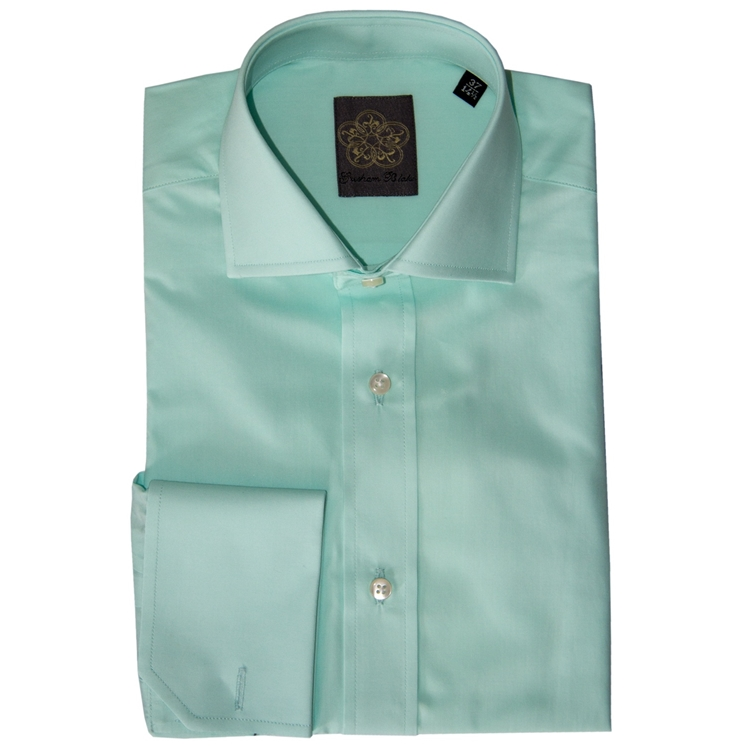 Mint Plain Cotton Double Cuff Shirt