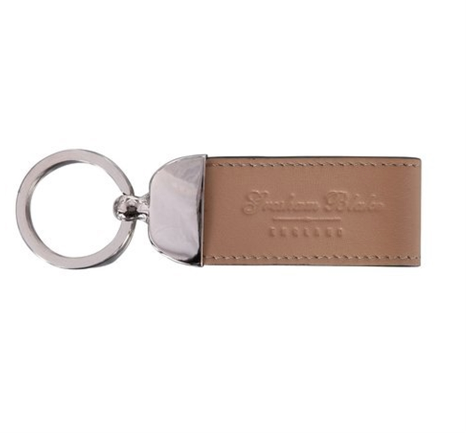 Beige Leather Keyring
