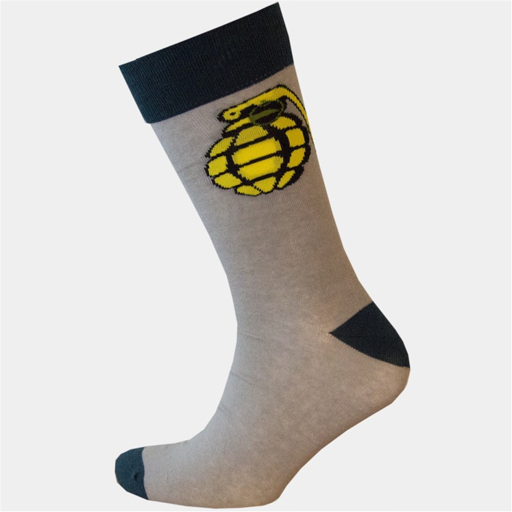 Grey & Yellow Grenade Sock