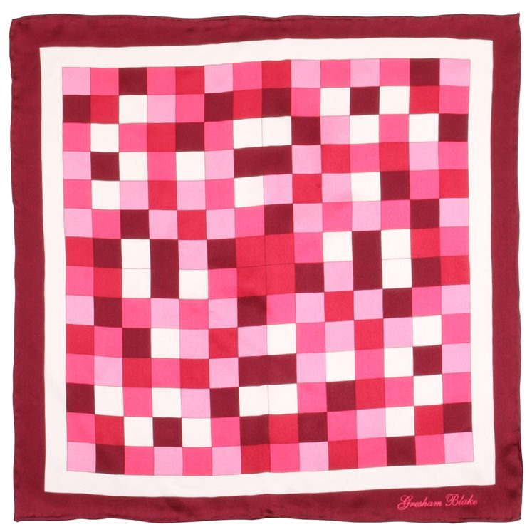 Pink Check Silk Pocket Square