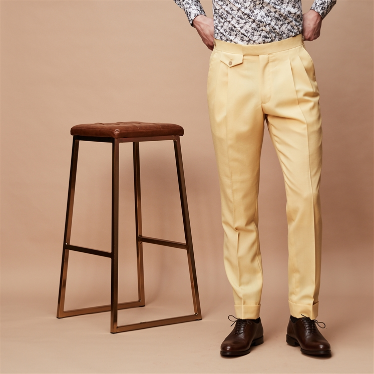 Yellow Pleated Wool Peg Trousers